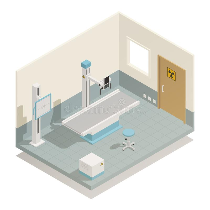 Isometric σύνθεση ιατρικού εξοπλισμού νοσοκομείων διανυσματική απεικόνιση