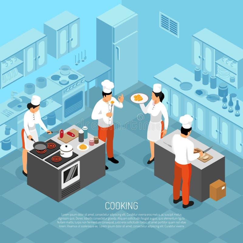 Isometric σύνθεση καθηκόντων μαγείρων διανυσματική απεικόνιση