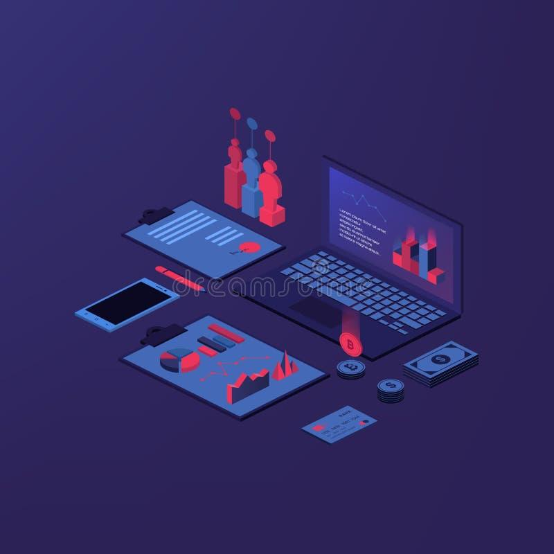 Isometric σύνθεση λογιστικής με τις απομονωμένες εικόνες των νομισμάτων χρημάτων στοιχείων χώρου εργασίας λογιστών και του οικονο απεικόνιση αποθεμάτων