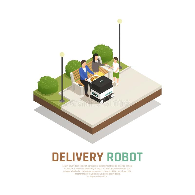 Isometric σύνθεση μεταφορών παράδοσης ρομποτική ελεύθερη απεικόνιση δικαιώματος