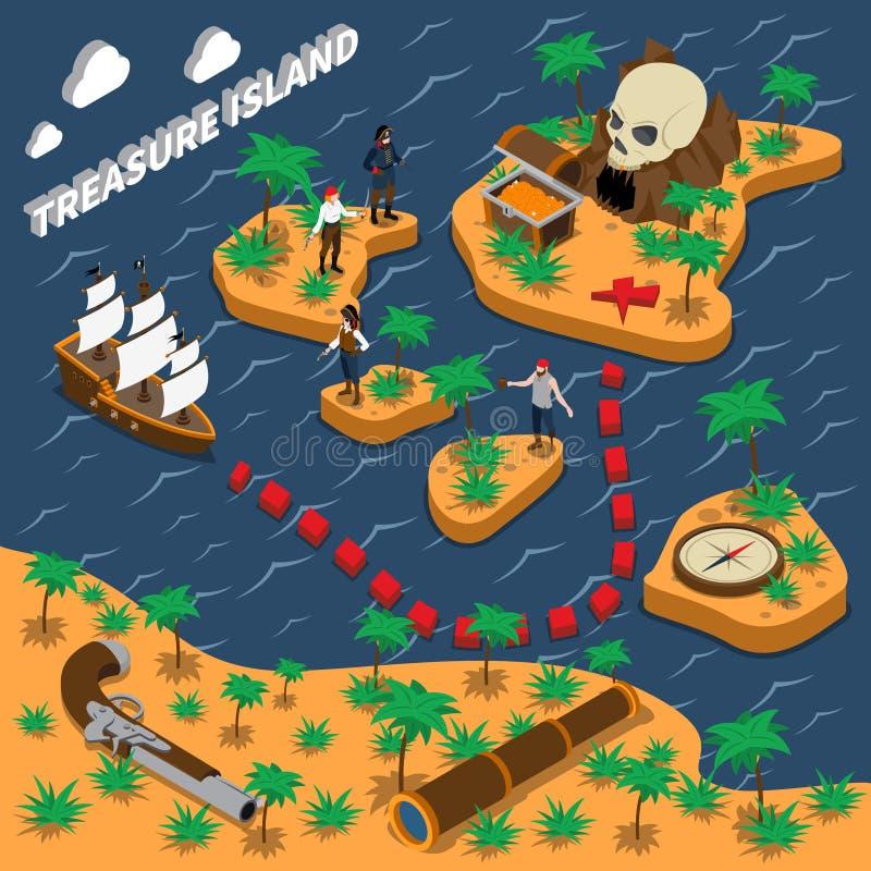 Isometric σύνθεση Νησιών των Θησαυρών διανυσματική απεικόνιση