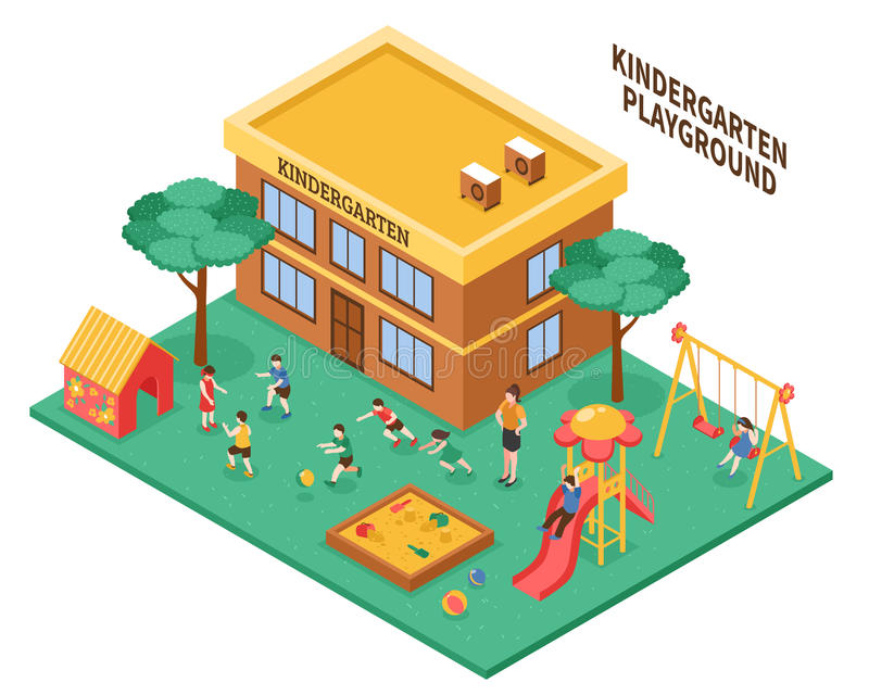 Isometric σύνθεση παιδικών σταθμών απεικόνιση αποθεμάτων