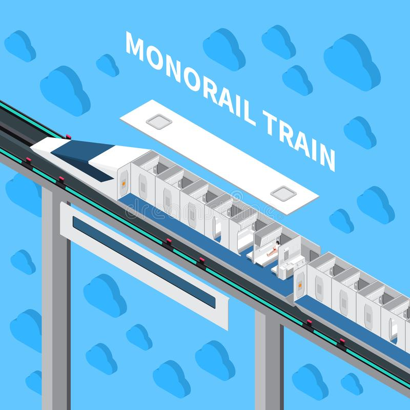 Isometric σύνθεση τραίνων μονοτρόχιων σιδηροδρόμων διανυσματική απεικόνιση