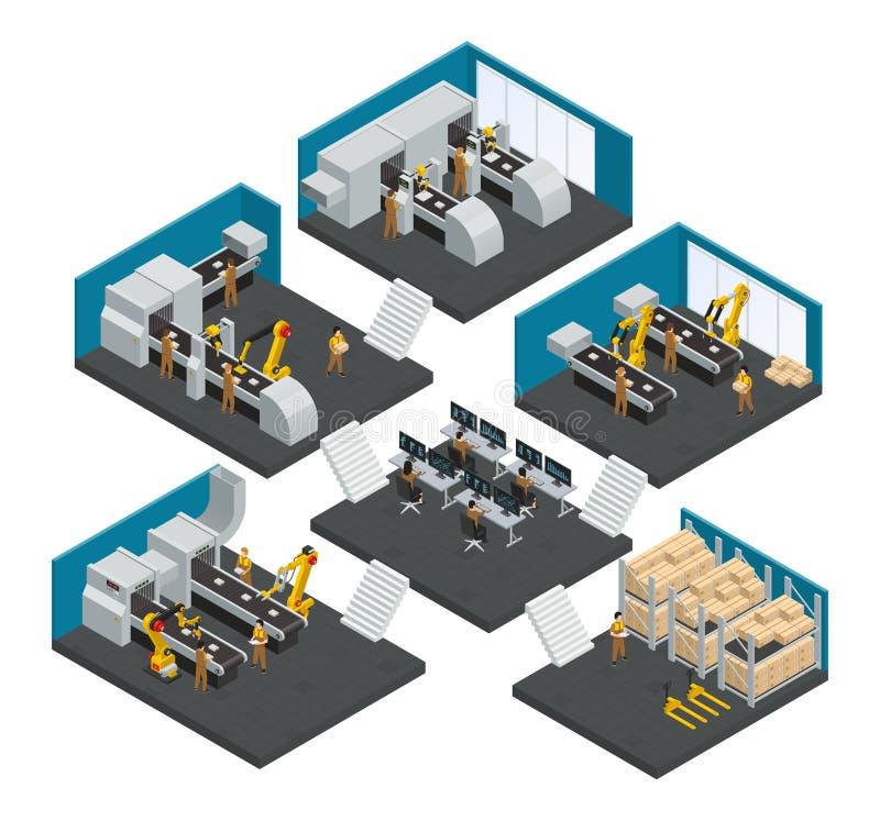 Isometric σύνθεση Multistory εργοστασίων ηλεκτρονικής απεικόνιση αποθεμάτων