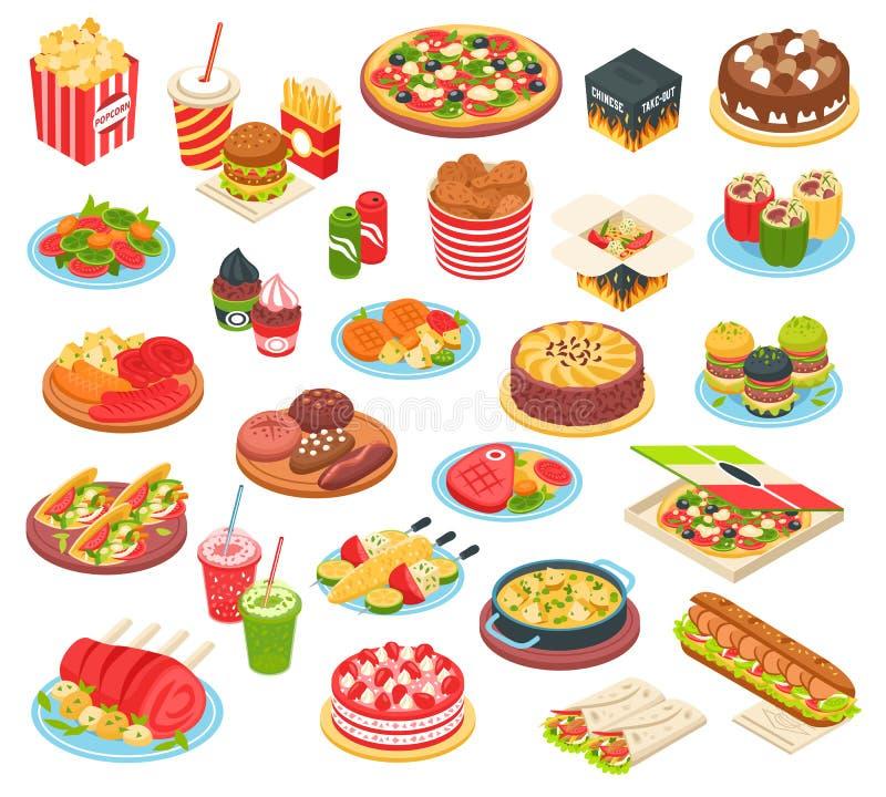 Isometric σύνολο γρήγορου φαγητού ελεύθερη απεικόνιση δικαιώματος