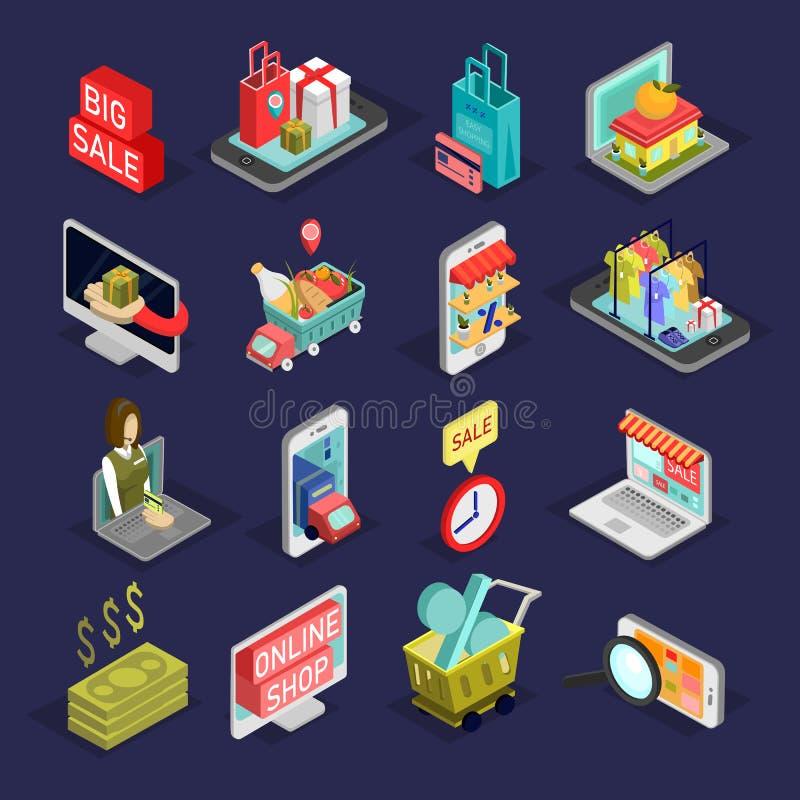 Isometric σύνολο εικονιδίων αγορών Μεγάλο σύνολο σε απευθείας σύνδεση στοιχείων αγορών ελεύθερη απεικόνιση δικαιώματος