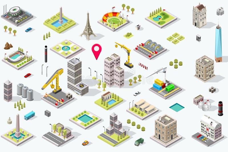 Isometric σύνολο εικονιδίων πόλεων διανυσματική απεικόνιση
