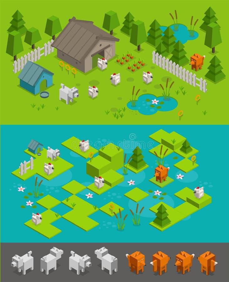 Isometric σύνολο επιπέδων παιχνιδιών arcade Ο κλέφτης αλεπούδων κλέβει τα κοτόπουλα στο αγροτικό σκυλί προστατεύει Διαφορετικά στ απεικόνιση αποθεμάτων