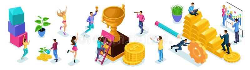 Isometric σύνολο επιχειρηματιών για τη δημιουργία των εννοιών διαφήμισης, επίτευξη των στόχων, κίνηση προς την επιτυχία, που λειτ ελεύθερη απεικόνιση δικαιώματος