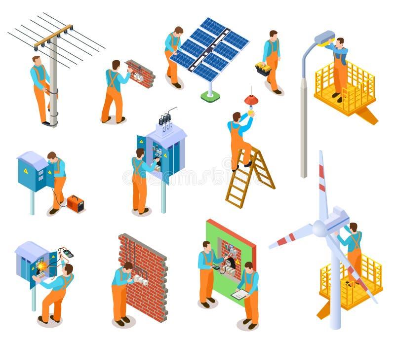 Isometric σύνολο ηλεκτρολόγων Εργαζόμενοι που κάνουν τις ηλεκτρικές εργασίες ασφάλειας Ηλεκτρικό άτομο συντήρησης που επισκευάζει απεικόνιση αποθεμάτων
