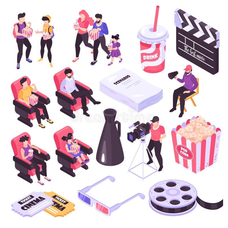 Isometric σύνολο κινηματογράφων ελεύθερη απεικόνιση δικαιώματος