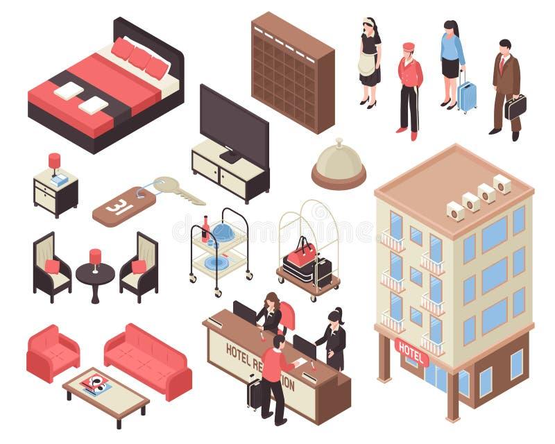 Isometric σύνολο ξενοδοχείων διανυσματική απεικόνιση