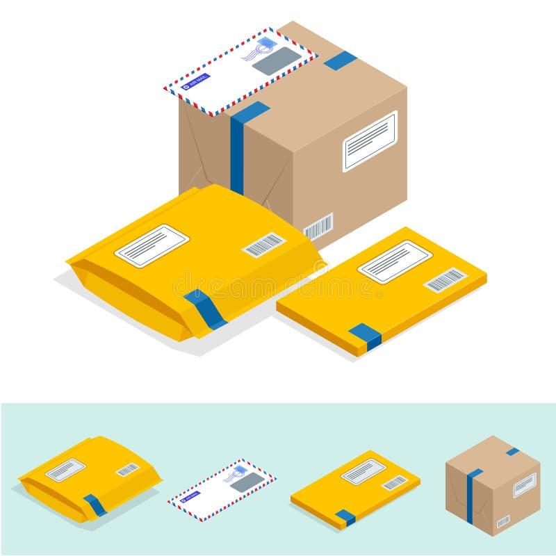 Isometric σύνολο ταχυδρομείου, ιδιότητες της ταχυδρομικής υπηρεσίας, σημείο των εικονιδίων παράδοσης αλληλογραφίας Εικονίδιο ταχυ ελεύθερη απεικόνιση δικαιώματος