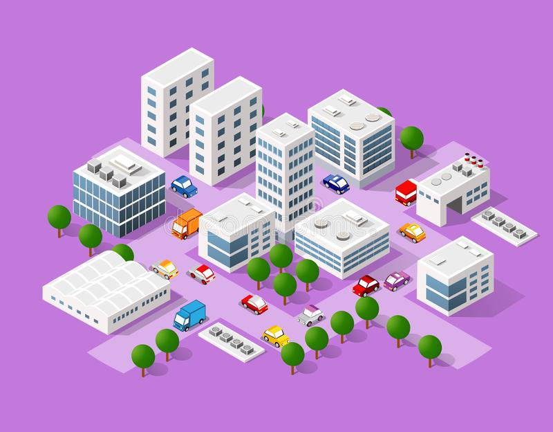 Isometric σύνολο της σύγχρονης πόλης ελεύθερη απεικόνιση δικαιώματος