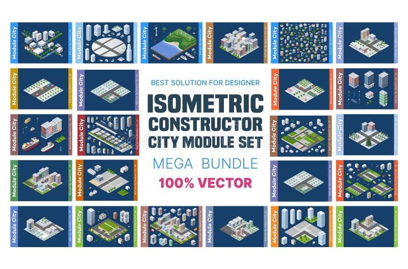 Isometric σύνολο φραγμών διανυσματική απεικόνιση
