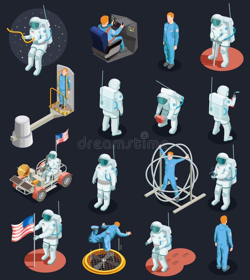 Isometric σύνολο χαρακτήρων αστροναυτών απεικόνιση αποθεμάτων