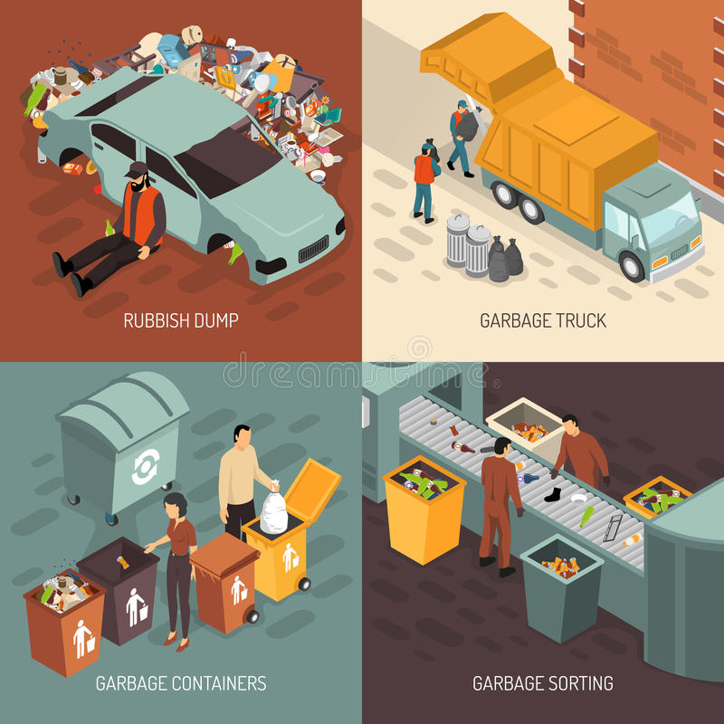 Isometric σύνολο εικονιδίων σχεδίου ανακύκλωσης απορριμάτων απεικόνιση αποθεμάτων