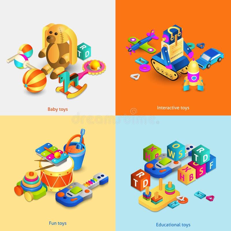 Isometric σύνολο παιχνιδιών διανυσματική απεικόνιση