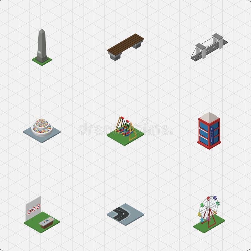Isometric σύνολο πόλεων συνεχούς μνημείου, πάγκου, εθνικής οδού και άλλων διανυσματικών αντικειμένων Επίσης περιλαμβάνει το συνεχ απεικόνιση αποθεμάτων