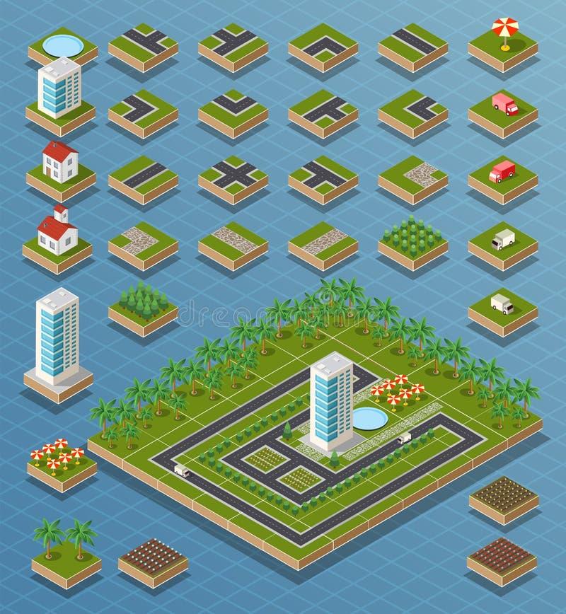 Isometric σύνολο πόλεων διανυσματική απεικόνιση
