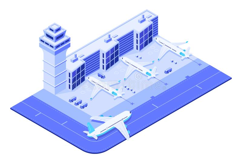 Isometric τερματικό αερολιμένων Αεριωθούμενο αεροπλάνο στο διάδρομο, το ταξίδι πτήσης αεροπλάνων και το τρισδιάστατο διάνυσμα πύρ απεικόνιση αποθεμάτων