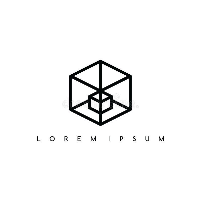 Isometric τετραγωνική διανυσματική τέχνη λογότυπων σημαδιών κιβωτίων logotype απεικόνιση αποθεμάτων
