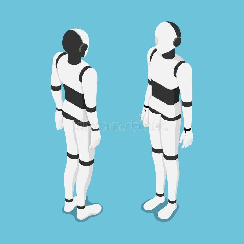 Isometric τεχνητή νοημοσύνη ή μέτωπο και πλάτη ρομπότ AI ελεύθερη απεικόνιση δικαιώματος