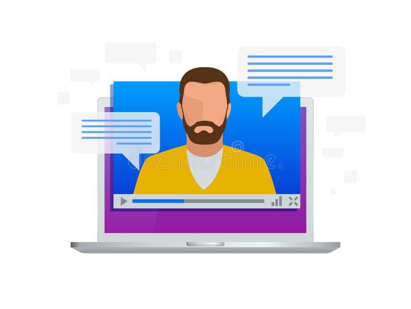 Isometric τηλεοπτική ροή Τηλεοπτικά μαθήματα άποψης, που εκπαιδεύουν ή που εκπαιδεύουν σε ένα lap-top Γλώσσες εκμάθησης απεικόνιση αποθεμάτων