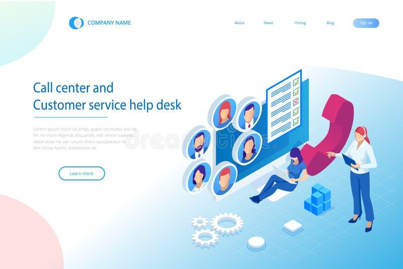 Isometric τηλεφωνικός χειριστής υποστήριξης επικοινωνίας, τηλεφωνικό κέντρο και γραφείο βοήθειας εξυπηρέτησης πελατών Σύμβουλος γ απεικόνιση αποθεμάτων