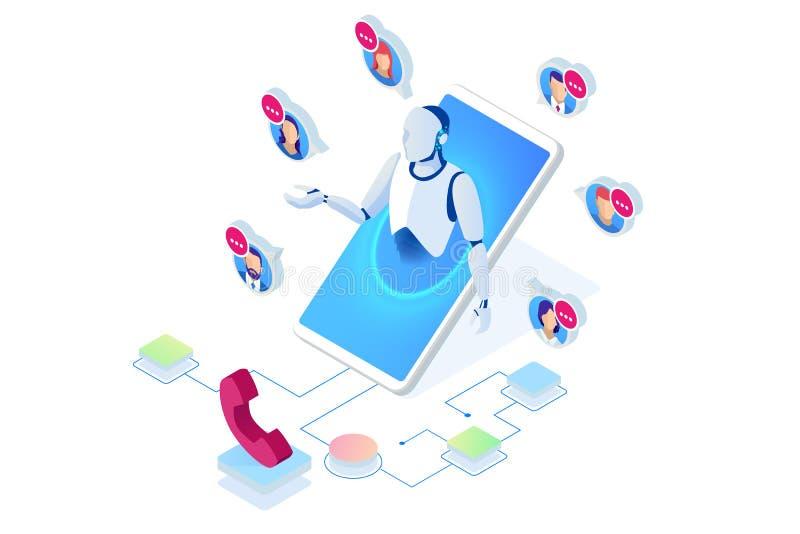 Isometric τηλεφωνικός χειριστής υποστήριξης επικοινωνίας, τηλεφωνικό κέντρο και γραφείο βοήθειας εξυπηρέτησης πελατών Σύμβουλος γ διανυσματική απεικόνιση