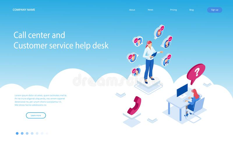 Isometric τηλεφωνικός χειριστής υποστήριξης επικοινωνίας, τηλεφωνικό κέντρο και γραφείο βοήθειας εξυπηρέτησης πελατών Σύμβουλος γ ελεύθερη απεικόνιση δικαιώματος