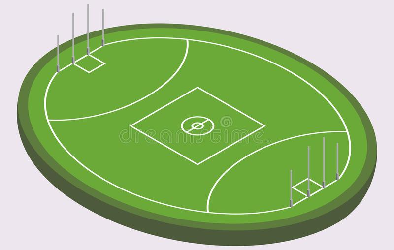 Isometric τομέας για το αυστραλιανό ποδόσφαιρο, απομονωμένη εικόνα απεικόνιση αποθεμάτων