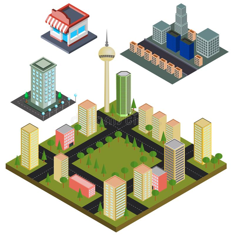 Isometric του ορίζοντα πόλεων κινούμενων σχεδίων ελεύθερη απεικόνιση δικαιώματος