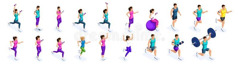 Isometric τρέχοντας άνθρωποι, μεγάλο σύνολο αθλητών, ατόμων και κοριτσιών sportswear Αθλητική διατροφή, υγιής τρόπος ζωής διανυσματική απεικόνιση
