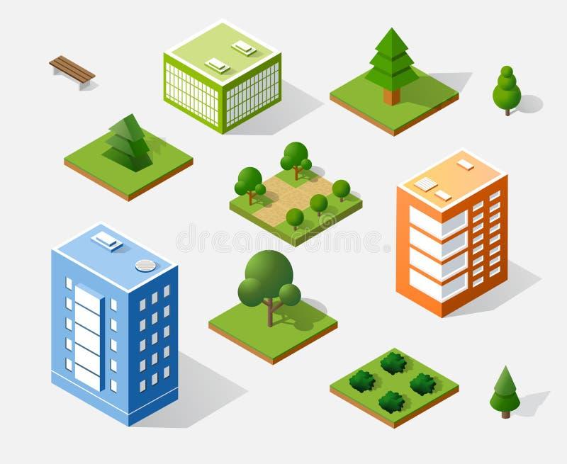 Isometric τρισδιάστατα δέντρα απεικόνιση αποθεμάτων