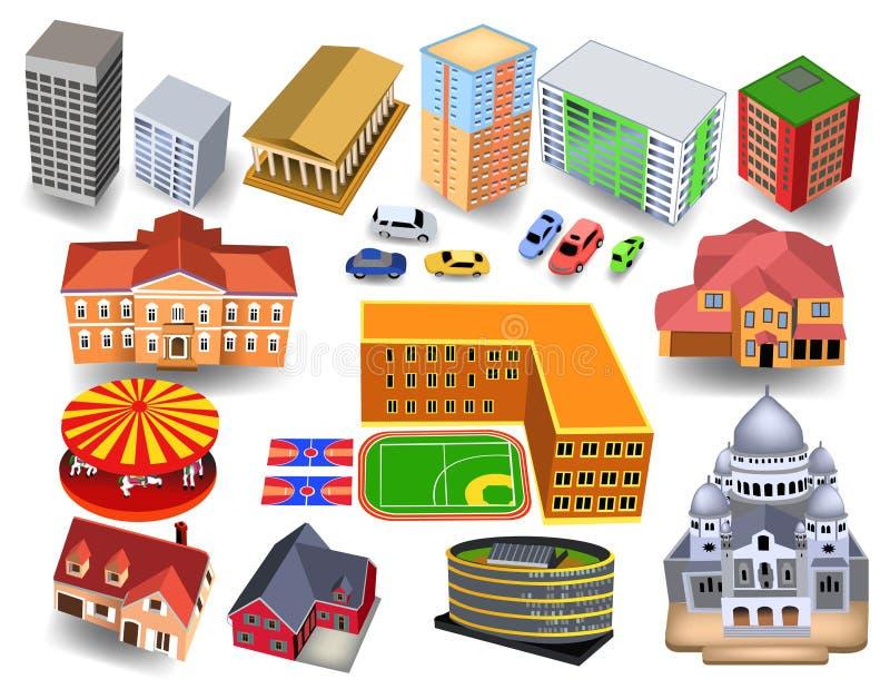 Isometric τρισδιάστατα κτήρια πόλεων όπως το σχολείο, εκκλησία, μουσείο, ξενοδοχεία, σπίτια ελεύθερη απεικόνιση δικαιώματος