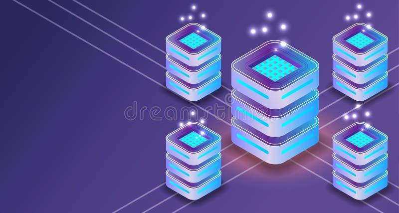 Isometric τρισδιάστατα στοιχεία επικοινωνίας σύνδεσης κεντρικών υπολογιστών Διανυσματική απεικόνιση βάσεων δεδομένων εμβλημάτων υ διανυσματική απεικόνιση