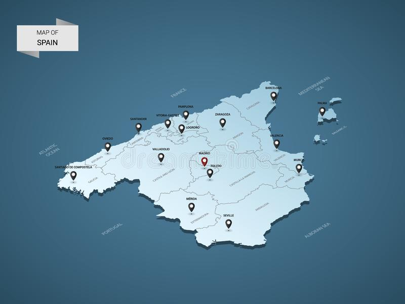 Isometric τρισδιάστατη έννοια χαρτών της Ισπανίας διανυσματική διανυσματική απεικόνιση