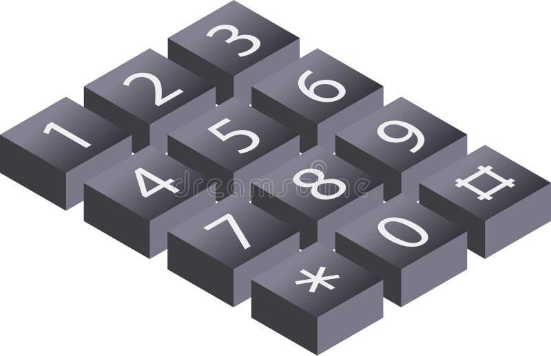 Isometric, τρισδιάστατη απεικόνιση του ψηφιακού αριθμητικού πληκτρολογίου, πληκτρολόγιο, pho κλήσης απεικόνιση αποθεμάτων