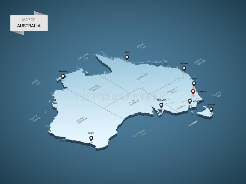 Isometric τρισδιάστατος διανυσματικός χάρτης χαρτών της Αυστραλίας απεικόνιση αποθεμάτων