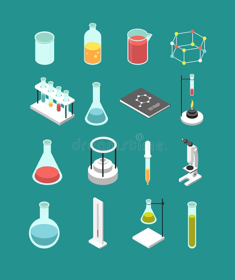 Isometric τρισδιάστατος χημικός εργαστηριακός εξοπλισμός Η χημεία αποδίδει τα διανυσματικά εικονίδια που απομονώνονται απεικόνιση αποθεμάτων