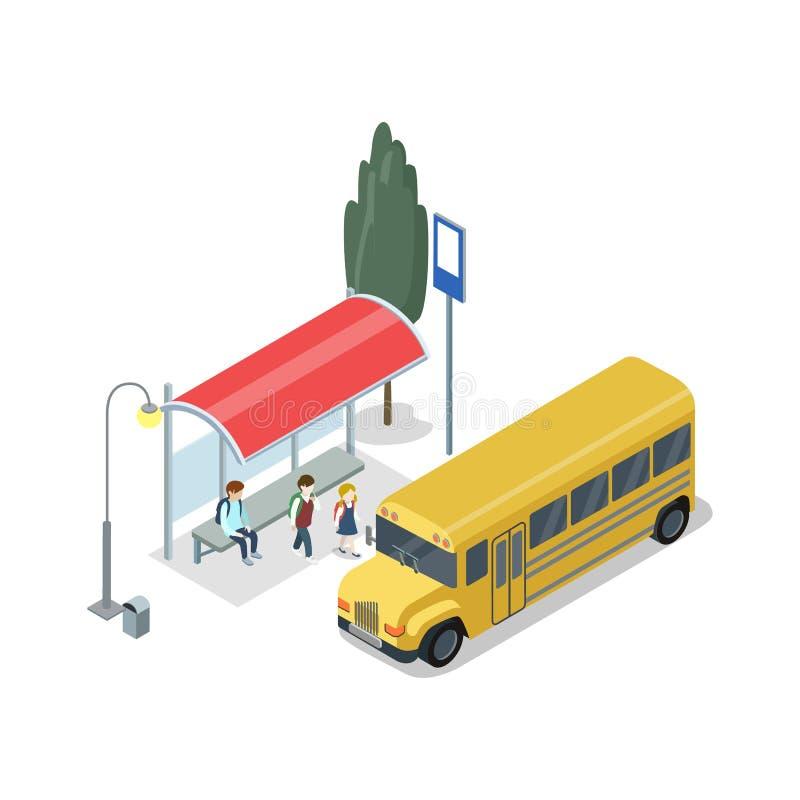 Isometric τρισδιάστατο εικονίδιο στάσεων σχολικών λεωφορείων ελεύθερη απεικόνιση δικαιώματος