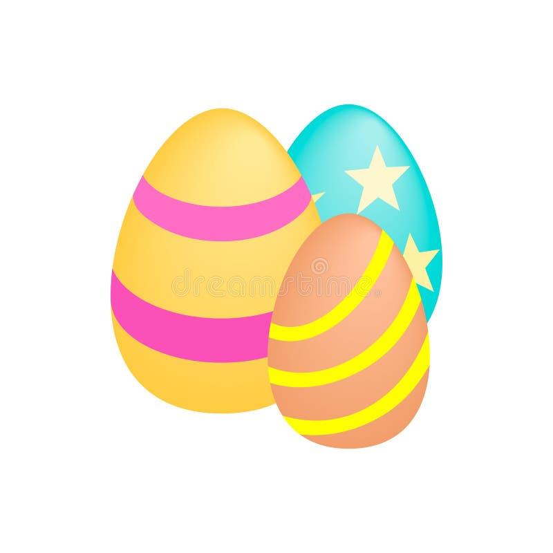 Isometric τρισδιάστατο εικονίδιο τριών αυγών Πάσχας διανυσματική απεικόνιση
