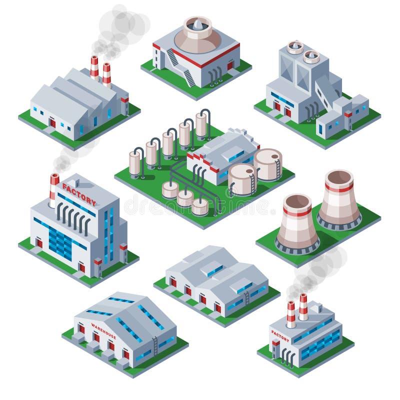 Isometric τρισδιάστατο εργοστάσιο που χτίζει τη βιομηχανική διανυσματική απεικόνιση σπιτιών αρχιτεκτονικής αποθηκών εμπορευμάτων  διανυσματική απεικόνιση