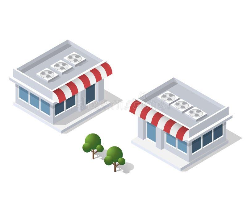 Isometric τρισδιάστατο κατάστημα διανυσματική απεικόνιση