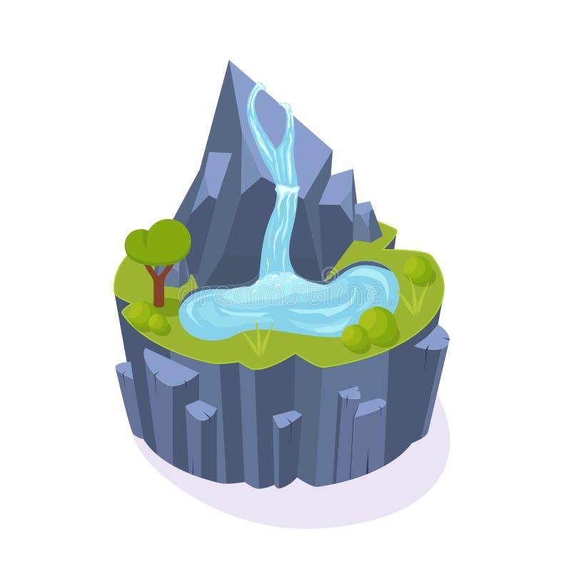 Isometric τρισδιάστατο παιχνίδι νησιών, χώμα τοπίων, βουνό με τον καταρράκτη, δέντρα διανυσματική απεικόνιση
