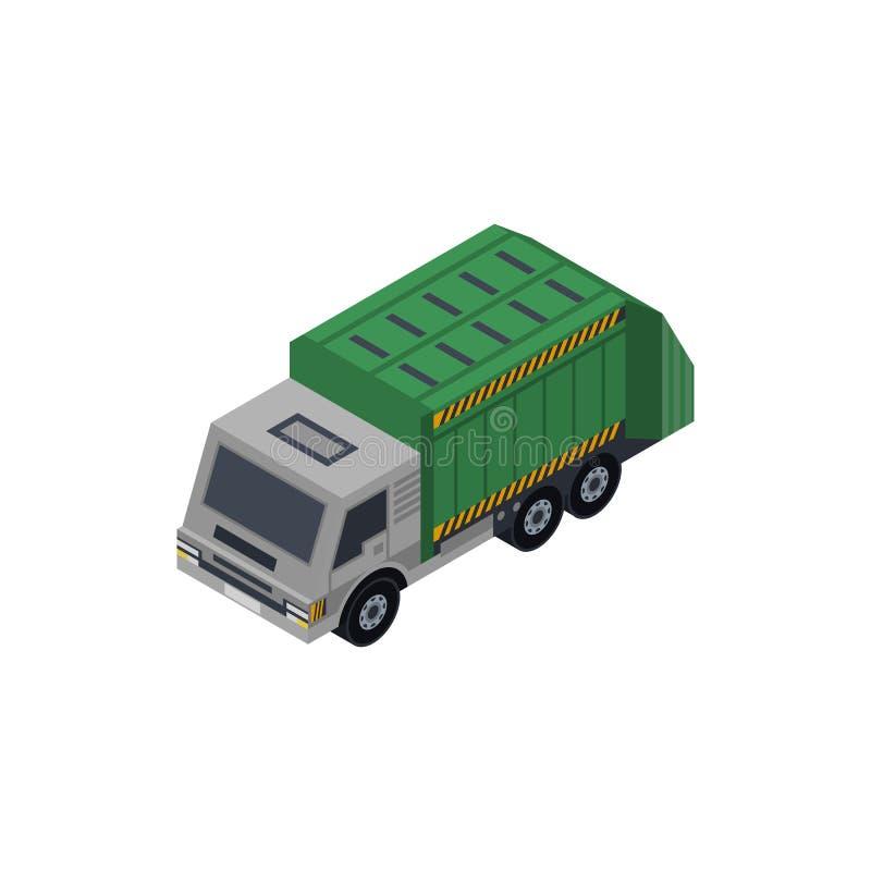 Isometric τρισδιάστατο στοιχείο φορτηγών απορριμάτων διανυσματική απεικόνιση