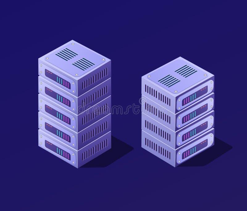 Isometric τρισδιάστατο σύνολο blockchain διανυσματική απεικόνιση