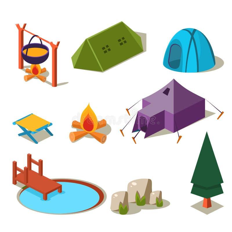 Isometric τρισδιάστατα δασικά στοιχεία στρατοπέδευσης για το τοπίο διανυσματική απεικόνιση