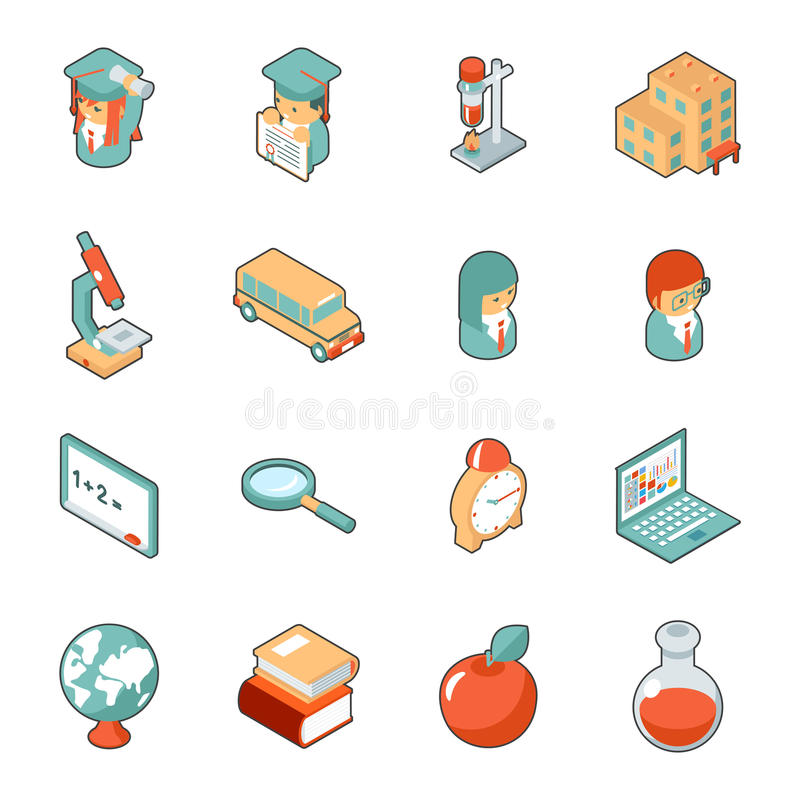 Isometric τρισδιάστατα εικονίδια εκπαίδευσης και σχολείων απεικόνιση αποθεμάτων